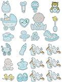 12 TLG. Set Sticker / Aufkleber aus Holz - Baby mit Glitzer für Jungen - auch als Streumotiv - zur Geburt Kinderwagen Schnuller Babymotiv Taufe Babyschuhe BAB..