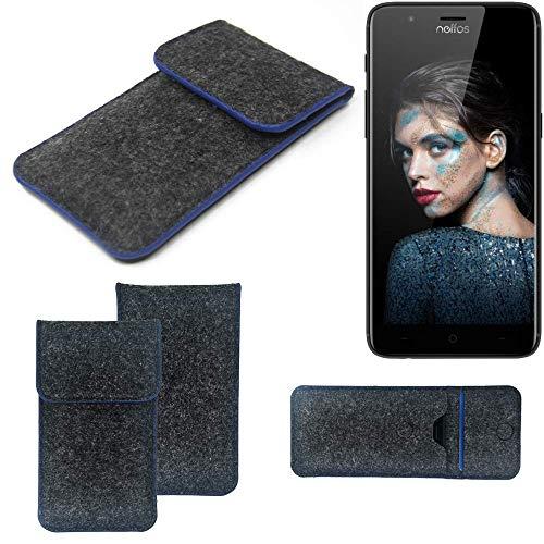 K-S-Trade® Handy Schutz Hülle Für TP-LINK Neffos N1 Schutzhülle Handyhülle Filztasche Pouch Tasche Case Sleeve Filzhülle Dunkelgrau, Blauer Rand