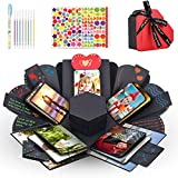 Jooheli Caja de sorpresa, amor explosión, caja de regalo, regalo para manualidades, scrapbook de regalo, fotos para Navidad, San Valentín, aniversario, cumpleaños, boda (negro y rojo)
