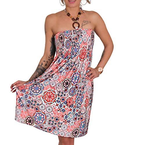 Neckholder Sommer Bandeau Kleid Holz-Perlen Damen Strandkleid Tuchkleid Tuch Aztec (44 Apricot)