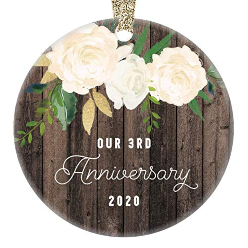 Lplpol Our 3rd Anniversary Ornament 2020 Third Year Married Wedding Anniversaries Marriage Couple Him Her Keepsake, 3 Inch Round Ceramic Christmas Tree Hanging Ornament, RE628