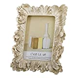 4x6 Picture Frame, Photo Frame Gold Décor with Deluxe Floral Design (Floral Gold 4x6)