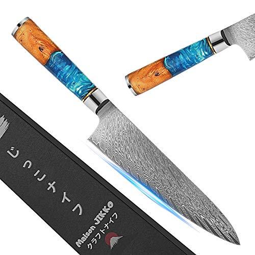 Jikko - Cuchillo de chef japonés, 33 cm, con hoja de acero de Damasco – Cuchillo de cocina profesional de alta gama con mango de madera de arce