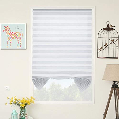SUNFREE 6 Pack White Temporary Shades Cordless Blinds Fabric Light Filtering Pleated Window Shades Easy to Cut and Install 48' Wx72 H, 6-Pack