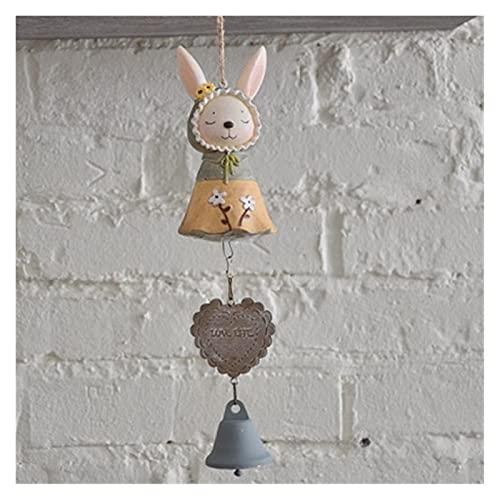 QPLKL Windspiele Harz Handwerk Windspiele Ornamente Katze Glocken Entzückende Tür Hängende Innendekoration Türhänge Campanula Schnalle Ornamente Heimtextilien (Color : Rabbit)