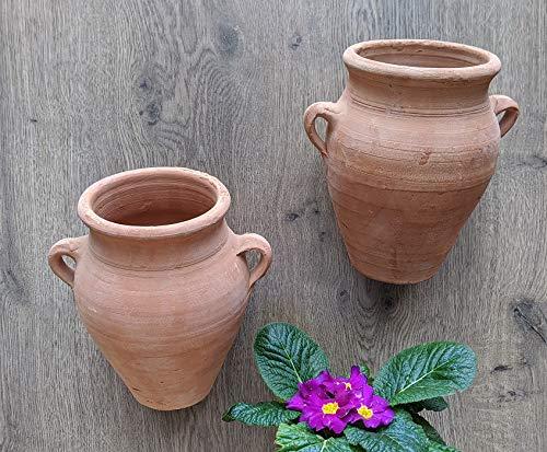 2 Stück Wandamphoren Blumentopf echt Terrakotta ca. 16 cm, Blumenkübel für Garten und Wohnung Terracotta Liegeamphore ........... kein Kunststoff, Blumen