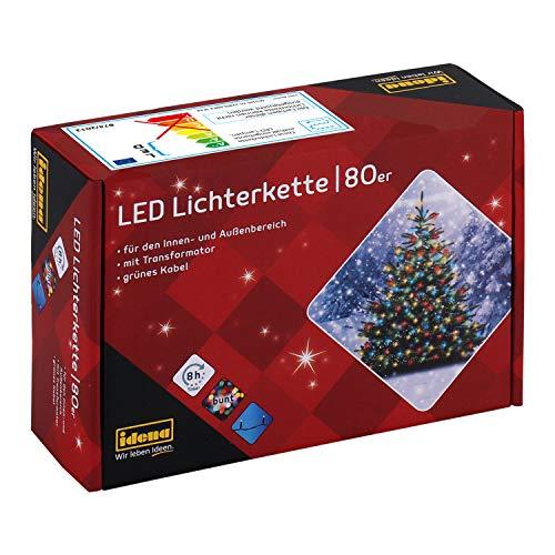 Idena 8325059 - LED Lichterkette mit 80 LED in bunt, mit 8 Stunden Timer Funktion, Innen und Außenbereich, für Partys, Weihnachten, Deko, Hochzeit, als Stimmungslicht, ca. 15,9 m