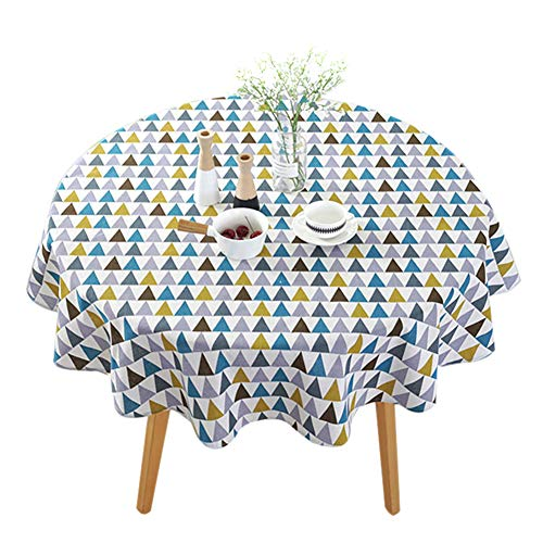 Domeilleur - Mantel redondo para decoración de mesa, diseño geométrico, 150 cm