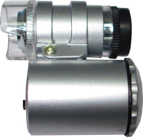 Mikroskop/Lupe/Vergrösserungsglas mit 3 LEDs (+UV) 60-fache Vergrösserung
