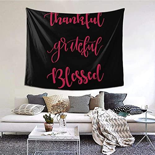 Grateful Thank ful Blessed - Manta de pared para decoración de dormitorio, sala de estar (60 x 129,5 cm), color negro