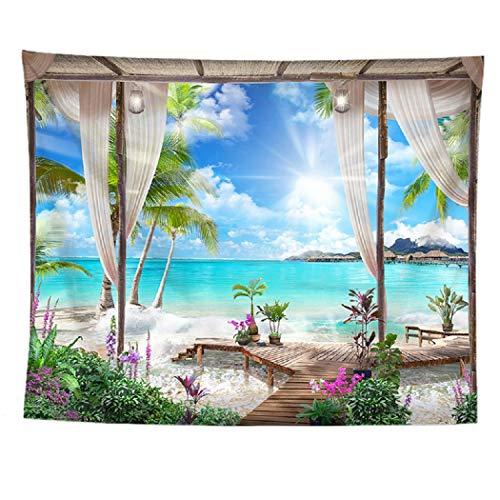 izielad Meer Strand Blauer Himmel Naturlandschaft Blumen Baum Wandteppich Wandbehang Stoff Wanddekoration 180X230CM 70.8X90.5IN
