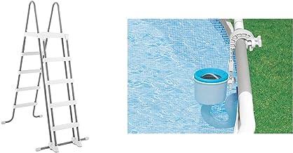 Intex Escalera con Escaleras Desmontables (para Piscinas De 52 Pulgadas), Gris, 130X33X182 Cm + 28000 Skimmer Deluxe Filtro 3.028 litros/Hora, Easy Set Metal Frame