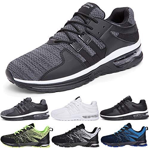 JACKSHIBO Sportschuhe Herren Laufschuhe Atmungsaktiv Leichte Turnschuhe Gym Fitness Sneaker Freizeitschuhe Straßenlaufschuhe Walkingschuhe (Grau,44EU)