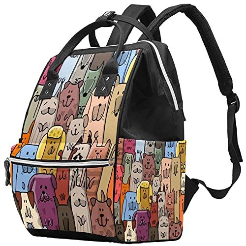 Yuelai Borsa per pannolini Zaino per laptop Zaino da viaggio Zaino da viaggio per donna, cane alla moda carino e affascinante