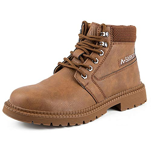 Calzado de Seguridad Impermeable Zapatillas de Seguridad Zapatos de Trabajo con Punta de Acero Ultra Liviano Botas de Trabajo,Amarillo,43EU