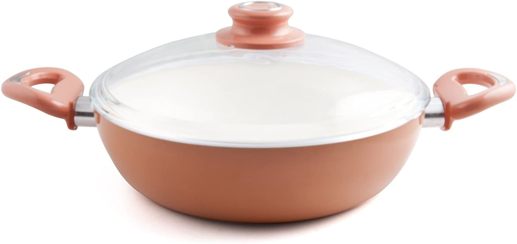 Essenso Ecotouch Lazio Enamel Coated Low Dutch Oven With Nonstick Ceramic Interior PTFE PFOA Free 3 Quart Orange