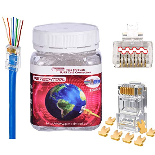 RJ45 23AWG Cat6a Cat6 Connector Gold Plated 8P8C Pass Through Ends UTP Network Plug for Unshielded Twisted Pair Solid Wire & Standard Cables | Transparent Passthrough Ethernet Insert (100Packs)