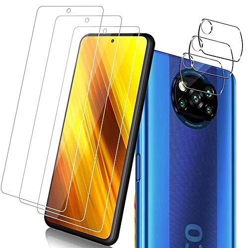 Flysee [3 Piezas] Protector de Pantalla para POCO X3 NFC + [3 Piezas] Protector de Lente de cámara, Cristal Templado de HD, Anti-Arañazos, Sin Burbujas, Cobertura máxima