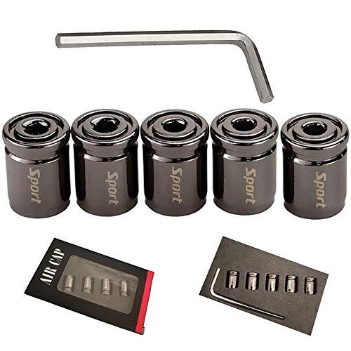 LCOUACEO 5 Piezas Metal Tapas Válvula de Neumático Tapones Rueda Coche con Junta Reemplazo Cubiertas Válvula Universal Valve Caps para Automóviles, SUV, Camiones, Motocicletas(Negro)