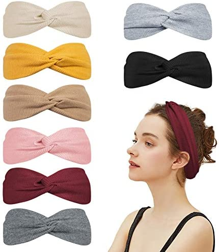 Loritta 8 Packs Turban Headbands for Women No Slip Fashion Wide Workout Yoga Turban Cute Top product image