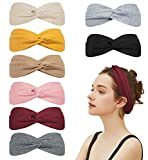 Loritta 8 Packs Turban Headbands for Women No Slip Fashion Wide Workout Yoga Turban Cute Top Knot Headband Head Bands Gifts, Solid Color