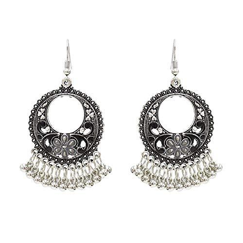 Nuevos pendientes tallados huecos exagerados europeos y americanos Pendientes de borla en forma de U étnicos retro Pendientes Jewelry-4717 Negro