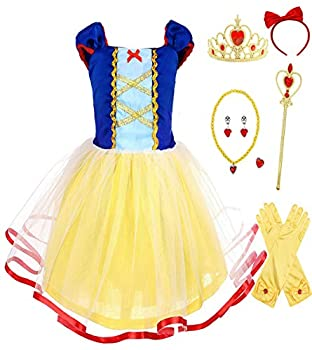 HenzWorld Baby Girls  Clothing Dresses Costume Tutu Skirt Outfits Princess Birthday Halloween Cosplay Party Yellow Gloves Jewelry Accessories Kids Children 3T Age 2-3 Years Old