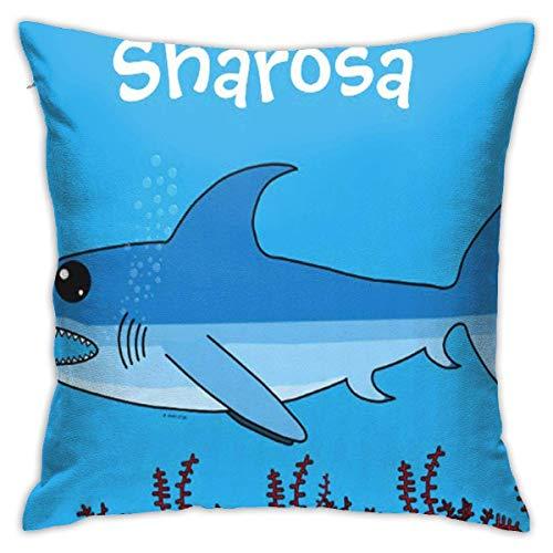 Asa Dutt528251 Funda de Almohada Cuadrada Fundas de cojín Dibujos Animados Snappz The Shark Digital Sea Friendly Snapzz Funda de Almohada Decorativa para sofá