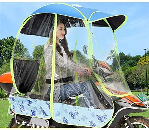 Fully Enclosed Electric Motorcycle Umbrella Canopy Awning,Universal Motor Scooter Umbrella Mobility Sun Shade Rain Cover, UV Resistant Protection,T1,B