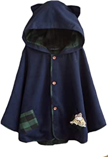 Aza Boutique Girl's Cute Button Down Tweed Cat Ears Hooded Cape
