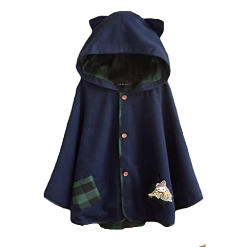 906dfbe3104 Aza Boutique Girl s Cute Button Down Tweed Cat Ears Hooded Cape