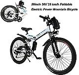 AIMADO Bicicletta Elettrica PIEGHEVOLE Mountain Bike 250 W 25 km/h Shimano 21 in Alluminio Batteria 36 V Luce Anteriore con 3 Livelli di Assistenza - Ruote Grandi 26 Pollici, Spina UE