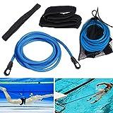 4M Cinturón De Entrenamiento De Natación,Cinturón de natación Ajustable para Piscinas de natación,Piscina Cinturón De Entrenamiento De Bungee para Niños y Adultos