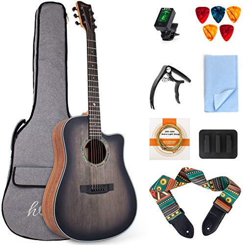 of acoustic guitar brand for beginners lotmusic 41 Inch Acoustic Guitar Full-size Dreadnought Professional Cutaway Folk Guitarra Bundle 6 Metal Strings with Beginner Kit (Gig Bag, Tuner, Strap, Picks all accessories