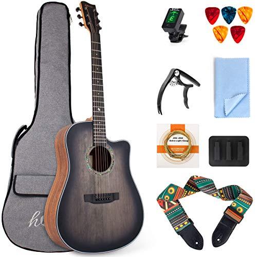lotmusic 41 Inch Acoustic Guitar Professional Cutaway Folk Guitarra Bundle Top Spruce 6 Metal Strings with Beginner Kit (Gig Bag, Tuner, Strap, Picks,Strings, Capo, Mute, Clean cloth)