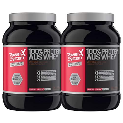Power System 100% Protein aus Whey 2 x 600 g Molkenprotein Eiweiss-Pulver (Schokolade)