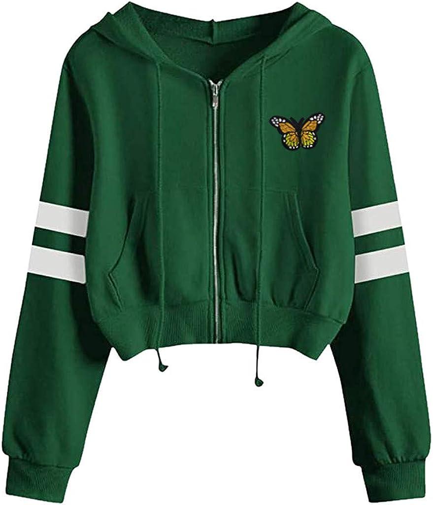 Sweatshirts for Women Zip Up Hoodie, Women's Long Sleeve Crop Top Casual Drawstring Sweaters Jacket Cropped Shirts