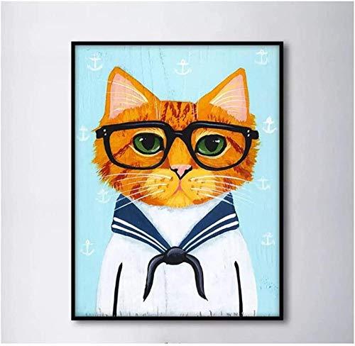 Impresión de la Lona poster Minimalismo, traje azul marino, lindas gafas, gato, arte de pared, imagen impresa, póster nórdico, decoración del hogar -60x80 CM