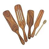 tellaLuna Juego de herramientas de cocina, 5 piezas de utensilios de cocina de madera, juego de espátulas de madera antiadherentes, para agitar, servir cocinar