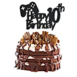 Video Game Cake Topper, Glittery Happy 10th Birthday Video Gaming Cake Toppers for 10 Year Old Boy...