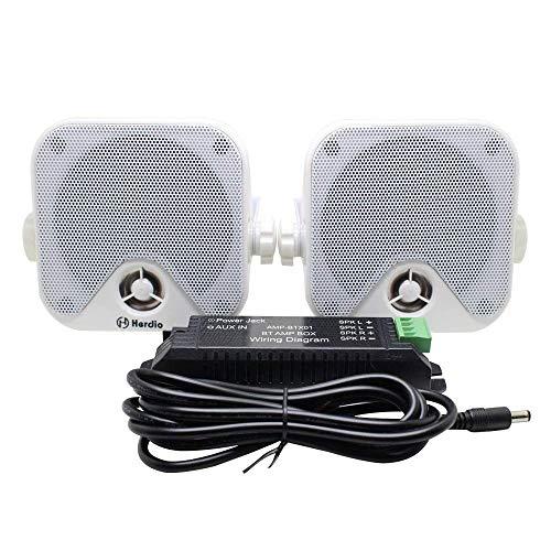 Herdio 4 Inches Marine Box Bluetooth Speakers -Compact Waterproof Audio Stereo Sound System with 100 Watt Power for Boat Golf cart Jeep ATV UTV Truck Heavy Duty Powersports Vehicles Courtyard (White)