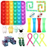 19PCs Sensory Fidget Toys Set, Stress Relief and Anti-Anxiety Tools Bundle for Kids and Adults with ADD, Rainbow Push Pop Bubble, Infinity Cube, Stretchy String, Flippy Chain, Soybean Squeeze and more