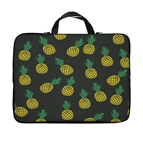 Britimes Laptop Case Protection Bag, Colorful Pineapple Cute Tropical Fruit Black Yellow Fresh Plant 11 12 13 inch Neoprene PC Computer Sleeve Waterproof Notebook Handle Carrying Bag
