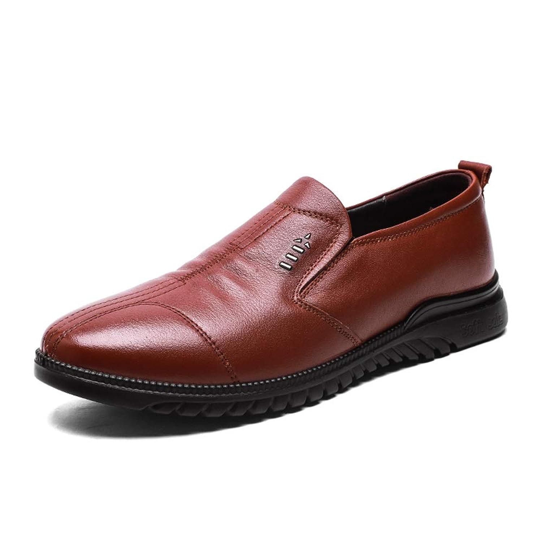 [Jusheng-shoes] メンズシューズ メンズフォーマルシューズ用シューズロートップシューズとOXレザーソフトラウンドトゥスリップ カジュアルシューズ