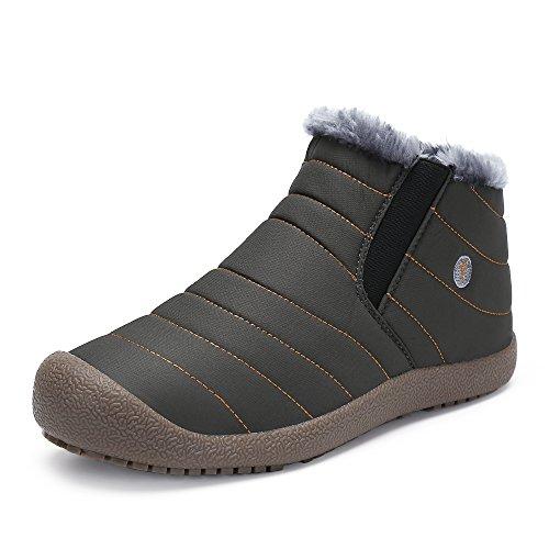 SAGUARO Herren Damen Winterschuhe Warm Gefütterte Boots Stiefelette Outdoor Waterproof Schneestiefel,High top grau,44 EU