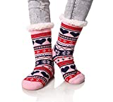 Baonuan Hausschuh-Socken, für den Winter, warm, dick, weich, Pink, Weihnachten, Liebe, Schneemann,...