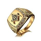 Bishilin Edelstahl Ring für Männer Brillantschliff Zirkonia Masonic Freimaurer Partnerringe Goldring Größe 62 (19.7)