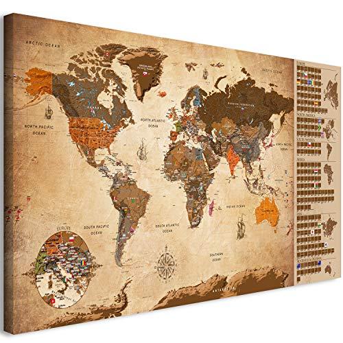 murando - Mapamundi para rascar - Mapa Mundial - 90x45 cm - Vintage - Laminado (Posibilidad de Escribir y borrar) - Mapa para rascar con Banderas - Macionales - k-A-0228-o-c