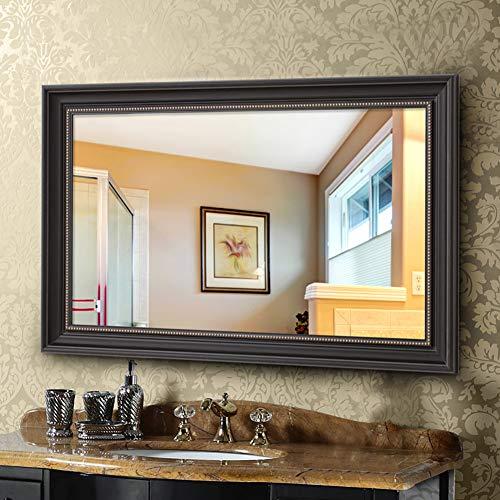 Espejo de Pared Rectangular Espejo de baño - Espejo Decorativo gótico - Espejo Retro de Maquillaje de vanidad para Dormitorio Pasillo de Sala de Estar, Colgante Horizontal o Vertical, Negro