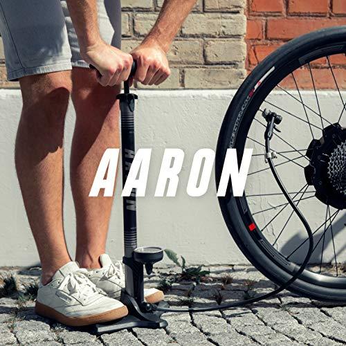 Aaron Sport One hochwertige Fahrrad Standpumpe mit Manometer für alle Ventile, Hochdruck Fahrradpumpe Rennrad, Luftpumpe, Pumpe mit Ball Aufsatz, Gelb - 8